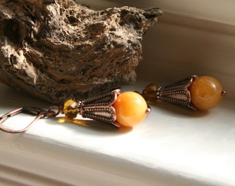 Yellow Jade Amber Glass Boho Earthy Rustic Copper Dangle Earrings