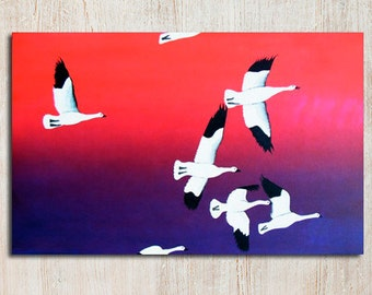 Spirit of the North - 36 x 24 Original Art Flock of Birds Geese Painting