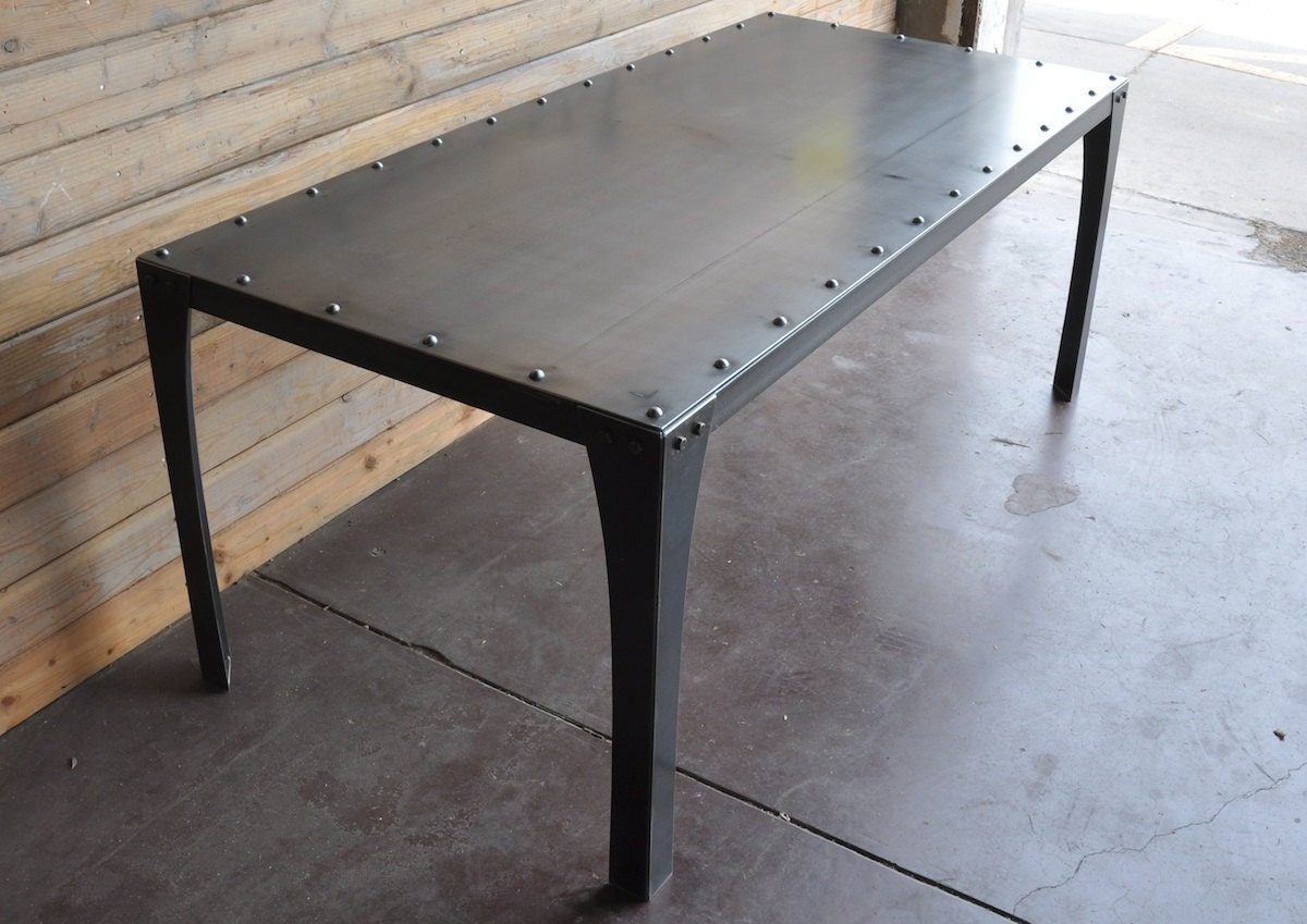 Industrial chic dining table by vintageindustrial on etsy for Table exterieur aluminium anodise