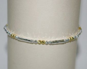 Sterling Silver 925 3mm Diamond Cut Laser Cut BEADS and Hammered Tubes Two Tone ANKLET - Custom made to your size - Free Shipping