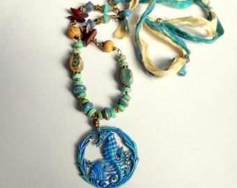 Seahorse Pendant Necklace,Beach Jewelry,Deep Blue Sea Necklace,Statement Necklace