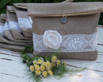 SALE  - Set of 6  Grey Linen Clutches  Pouches with White cotton Flower  Linen Pouches