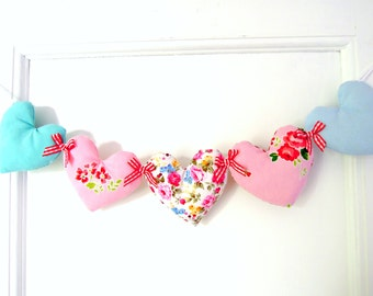 Heart Garland Pretty Florals/Pink /Aqua / Blue/ Red