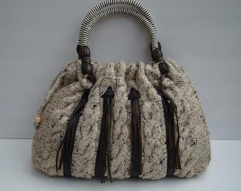 Comfy  Bag with Leather Trim Stylish Elegant Purse