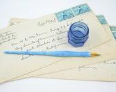Vintage Fountain Pen  -  Fountain Pen and Ink Bottle  -  Desk Accessory  -  Blue Wedding Decor