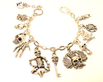 Day of the Dead Bracelet, Silver Skull Bracelet, Halloween Jewelry, Day of the Dead Jewelry, Skull Jewelry Halloween Bracelet, Goth Bracelet