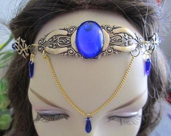 Sapphire Circlet of the Elven Royal Celtic Druid LARP Bridal Renaissance Cosplay