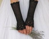 NOSTALGIA Long Crochet Fingerless Lace Bridal Gloves in black