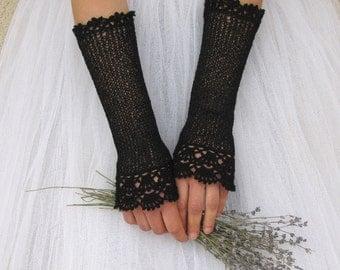 Black Wedding Gloves, Fingerless Gloves, Victorian Gloves, Bridal Lace Gloves, Crochet Gloves, Black Lace Gloves, Vintage Style, NOSTALGIA
