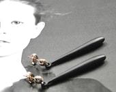 14k Gold Filled Posts, Boho Chic Earrings Sleek Black Metal, 14k Gold Post Earrings, Accessories, Luxe Earrings, Gift for Her, Gift Box