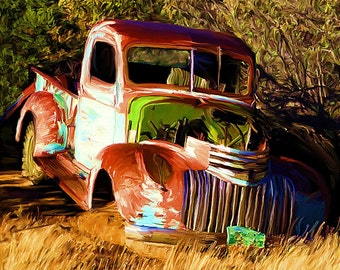 Old  Chevy Truck  Art Print 1946 Digital Painting