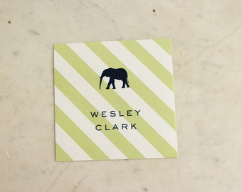 personalized children's gift stickers - elephant (boy or brothers, green and navy)