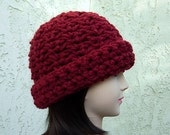 CROCHET BEANIE HAT Dark Cranberry Solid Red Thick Bulky Chunky Warm Winter Wool Blend Women's Simple Basic Skullcap..Ready to Ship in 5 Days