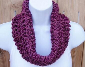 SUMMER COWL SCARF Dark Pink Purple, Magenta, Small Short Infinity Loop, Crochet Knit Soft Lightweight Neck Warmer..Ready to Ship in 2 Days