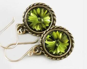 Moss Green Dangle Earrings 14k Gold Fill Hook Earrings Swarovski Crystal Earrings Antique Gold Earrings Olive Green Earrings