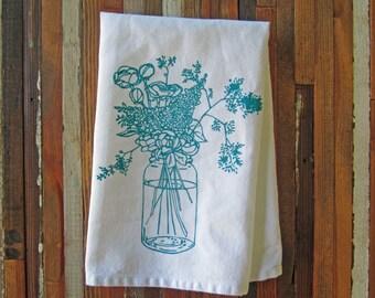 Cloth Napkins - Eco Friendly Dinner Napkins - Screen Printed Cotton Cloth Napkins - Wildflowers - Handmade Cloth Napkins - Farmhouse - Table