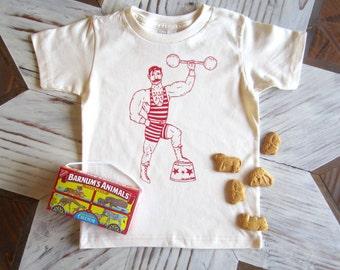 Kids Tshirt - Organic Cotton Toddler Shirt - American Apparel Kids Shirt - Screenprint Tshirt - Circus Strong Man - Toddler Tee - Hipster