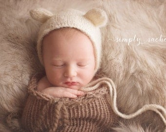 Little Taupe Swaddle Sack Newborn Baby Photography Prop
