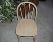 Vintage White-Washed Oak Bentwood Childs Chair