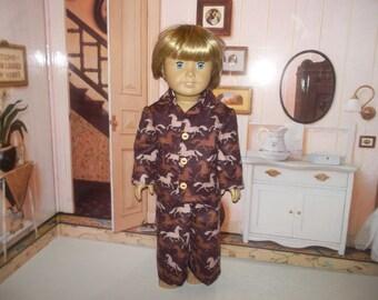 "Horses flannel pajamas fits 18"" dolls"