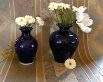 SALE Pair of Cobalt Blue Mini Vases