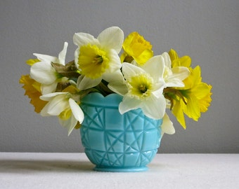 Vintage Turquoise Blue Milk Glass Sugar Bowl Vase by Fenton - Block and Stars Pattern - Aqua Pastel