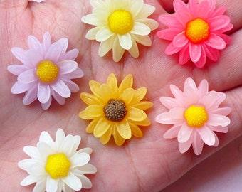 Chrysanthemum Chrysanths Mums Flower Cabochons (6pcs / 23mm / Flat Back) Phone Case Deco Kawaii Decoden Scrapbooking Floral Jewellery CAB357
