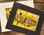 Black n Gold Pittsburgh with mat, TWO Pittsburgh Skyline prints by Johnos Art Studio