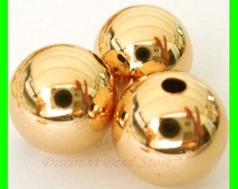 12mm 14k yellow  gold filled seamless shiny plain round bead spacers GB12