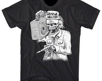 Graphic Villain Suicidal Boombox logo Shirt printed on ultra soft ring spun cotton