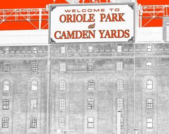 Baltimore Art, Camden Yards, Go Orioles, Line Art, Graphic Print, Maryland Art, Baltimore Skyline