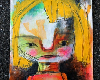 Abstract Portrait, Original Art Print. blond girl portrait, Colorful wall art, whimsical art. cheerful home decor