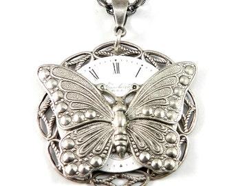 Steampunk Necklace, SALE Clockwork Butterfly Watch Face Teardrop Steampunk Necklace Handmade by Compass Rose Design