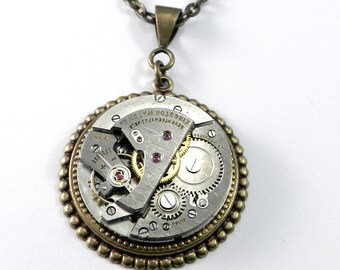 Steampunk Necklace, Antique Mechanical Watch Movement, Brass Clockwork Art Deco, Steampunk Jewelry by compassrosedesign