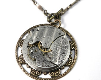 Steampunk Necklace - Waltham 1890 Pocket Watch Necklace - Antique Mechanical Watch, Steampunk Jewelry by compassrosedesign