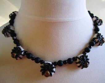 Halloween Necklace Spider Beads Onyx Swarovski Evil Eye Sterling Black Spooky Jewelry - 20 inches