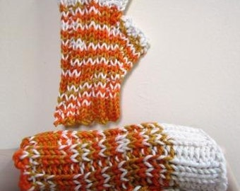 CLEARANCE Texting Mitts Fingerless Hand Knit Cotton Orange Short - Size Medium