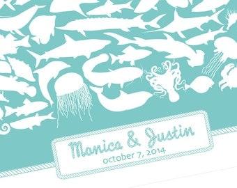 Guest Book Alternative Poster Custom Guestbook Nautical Wedding Beach Destination Wedding Island Wedding Ocean Creatures Turquoise Aqua Art