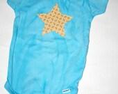 Hand Dyed Baby Onesie- Blue with Orange Star