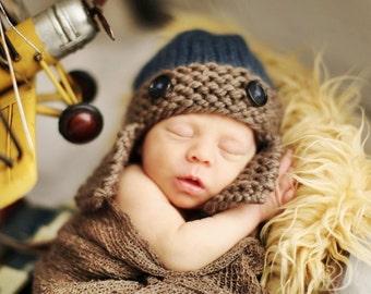 Knit Baby Hat, Baby Boy Hat, Baby Aviator Hat, Baby Ear Flap Hat, Newborn Aviator hat, Photography Prop, Newborn Photo Prop