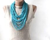Summer Scarf Infinity scarf necklace  blue crochet loop spring summer fashion vegan