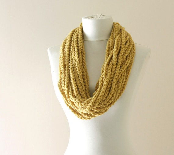 Mustard circle scarf - loop neckwarmer -   yellow crochet cowl - fall fashion - gift under 20 for women