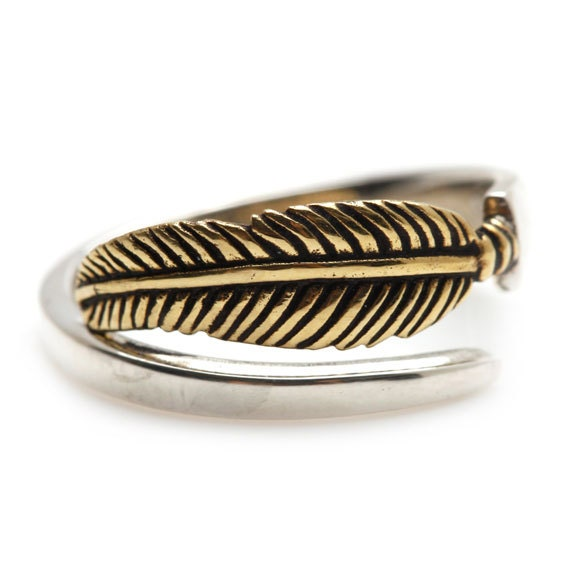 gold feather ring two tone white and yellow by