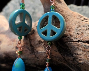 Peace sign turquoise dangle copper earrings