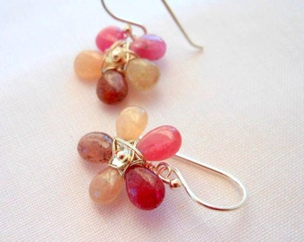 Pink Sapphire Wire Wrapped Viola Tricolor Earrings Sterling Silver