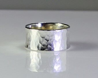 Size 8.5 Ring Handcrafted Sterling Silver Wide Band Ring Classic Hammer Texture Minimalist Contemporary Artisan Jewelry Design  52079114