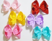 Large Hair Bow Set Big Girls Childrens Kids Boutique  Fashion Hair Clip Hairbows Hair Accessories (Set of 6) Choose Colors