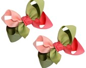 Girl's Large Combination Hair Bow Set Big Childrens School Bows Kids Boutique Fashion Hair Clip Hairbows (Set of 2) Choose Your Colors