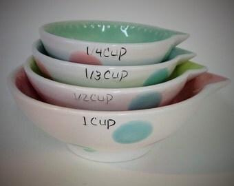 Ceramics Measuring Cups polka dots