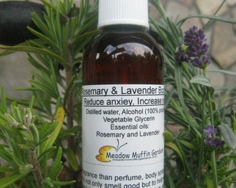 Body Spray, Rosemary/Lavender, Study Aid, Memory, Relax and Invigorate